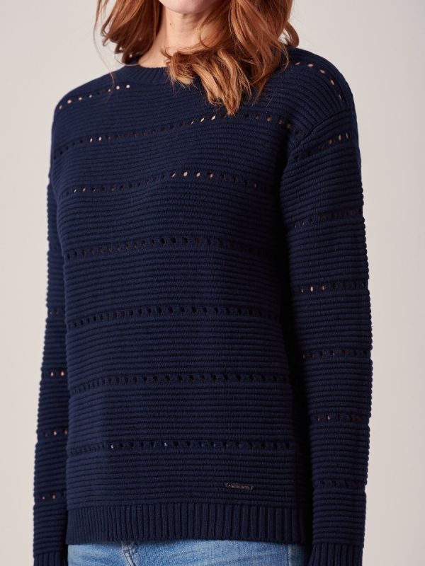 Mariana NAVY Textured Jumper | Quba & Co
