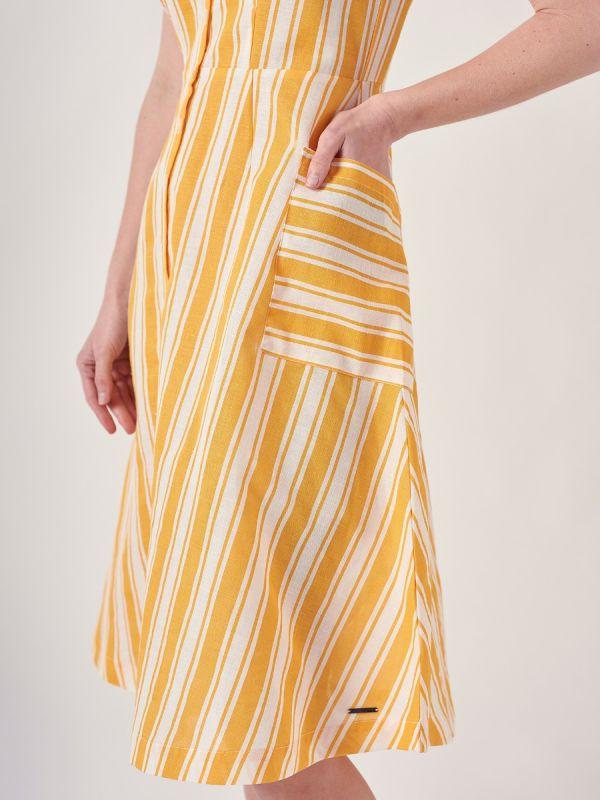Nora MELON ORANGE Stripe Dress| Quba & Co