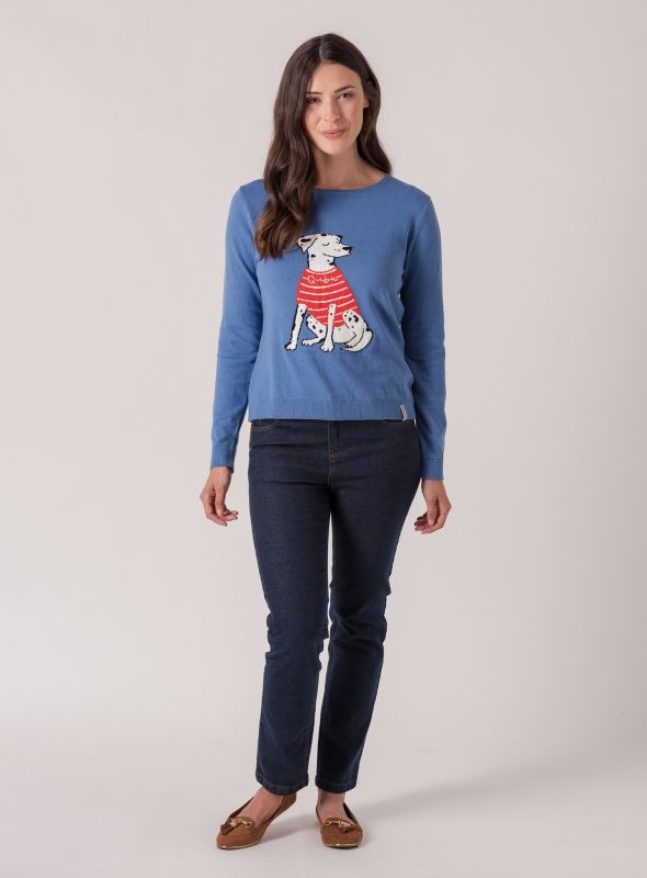 Norge Dalmation Jumper - Storm Blue | Quba & Co Knitwear