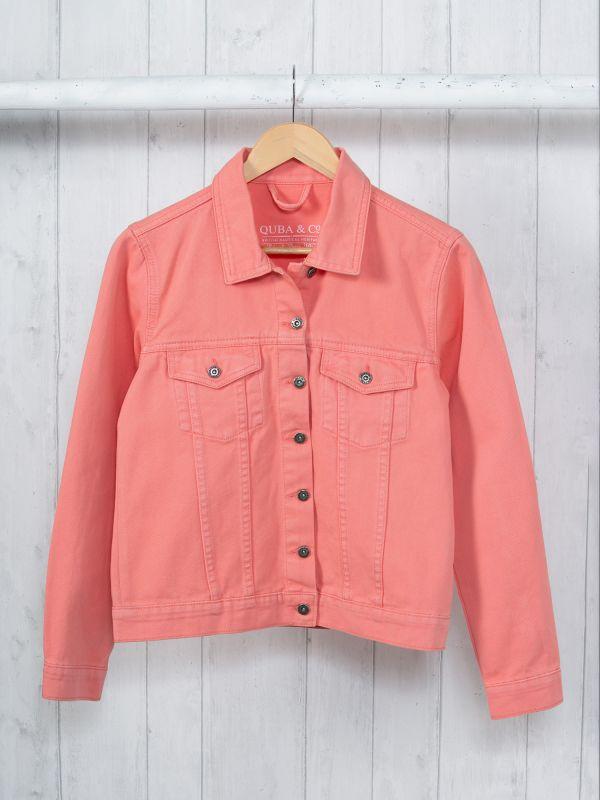 Passion CORAL PINK Denim Jacket | Quba & Co