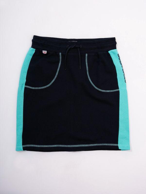 Patunia X-Series NAVY AQUA BLUE Jersey Skirt | Quba & Co