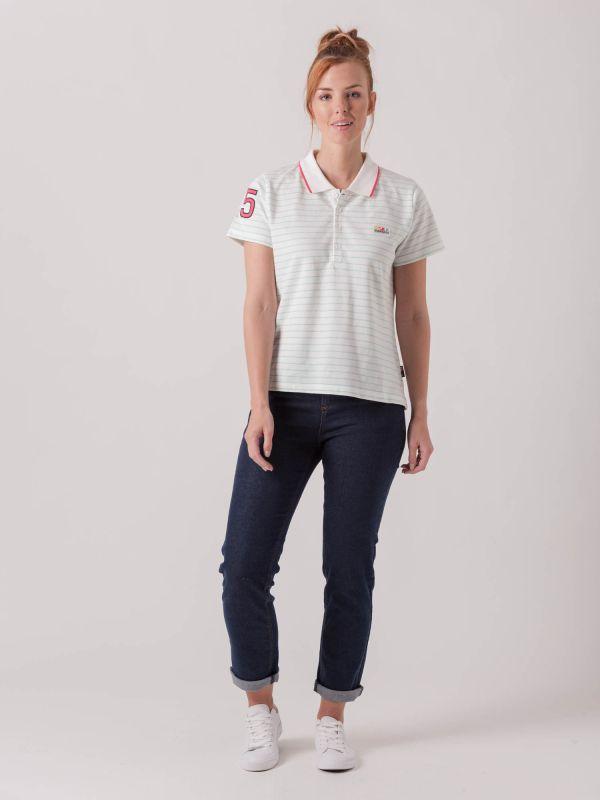 Perla WHITE AQUA BLUE STRIPE X-Series Polo Shirt | Quba & Co