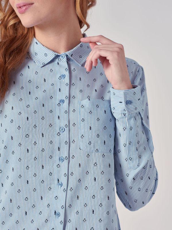 Perrine BLUE Penguin Print Shirt | Quba & Co