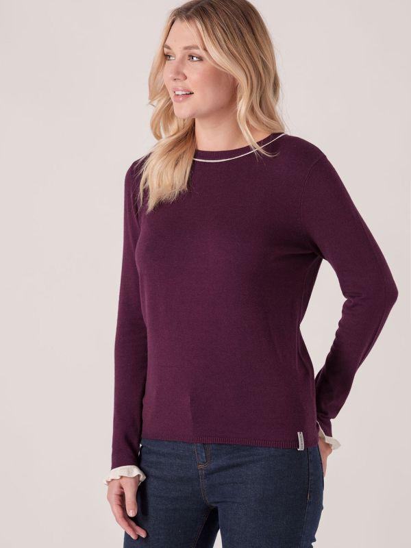 Prim Frill Sleeve Knit Jumper - Purple Berry   Quba & Co Knitwear
