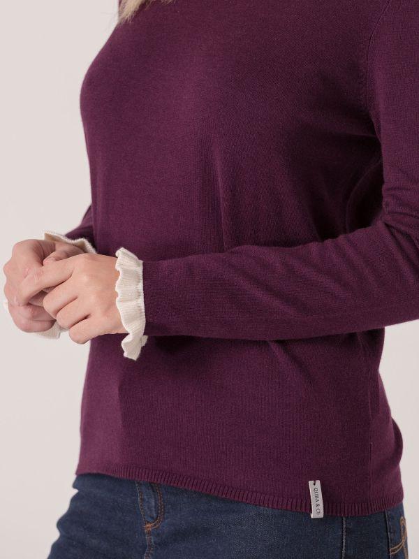 Prim Frill Sleeve Knit Jumper - Purple Berry