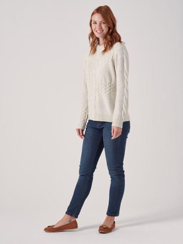 Priscille WHITE Cable Knit Jumper   Quba & Co