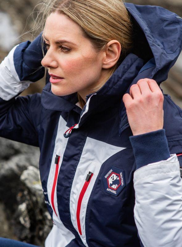 X10 Sport Ladies Waterproof Sailing Jacket - White & Navy | Quba & Co