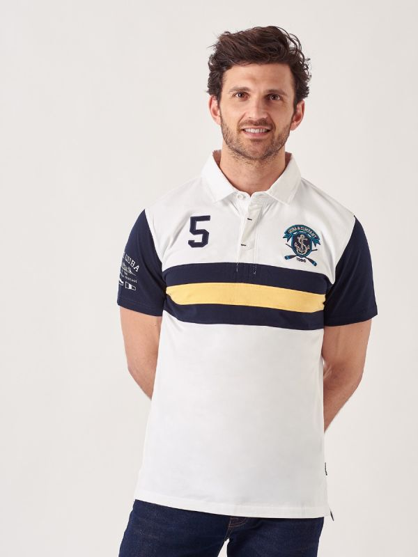 Rock WHITE Short Sleeve Rugby Shirt   Quba & Co