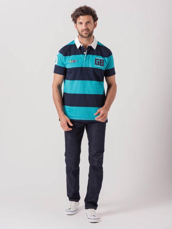 Romeo X-Series NAVY AQUA BLUE Short Sleeve Rugby Shirt   Quba & Co