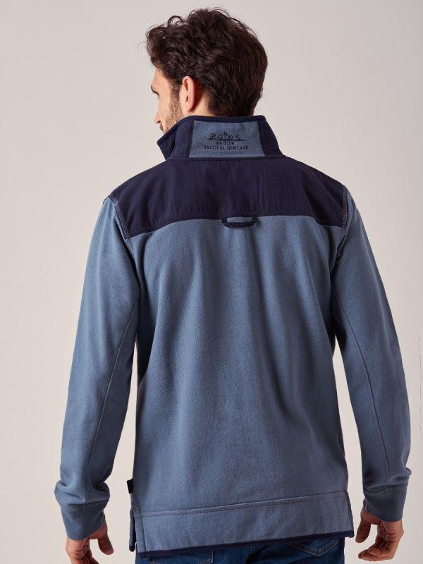 Sands BLUE Zip Pique Sweatshirt   Quba & Co