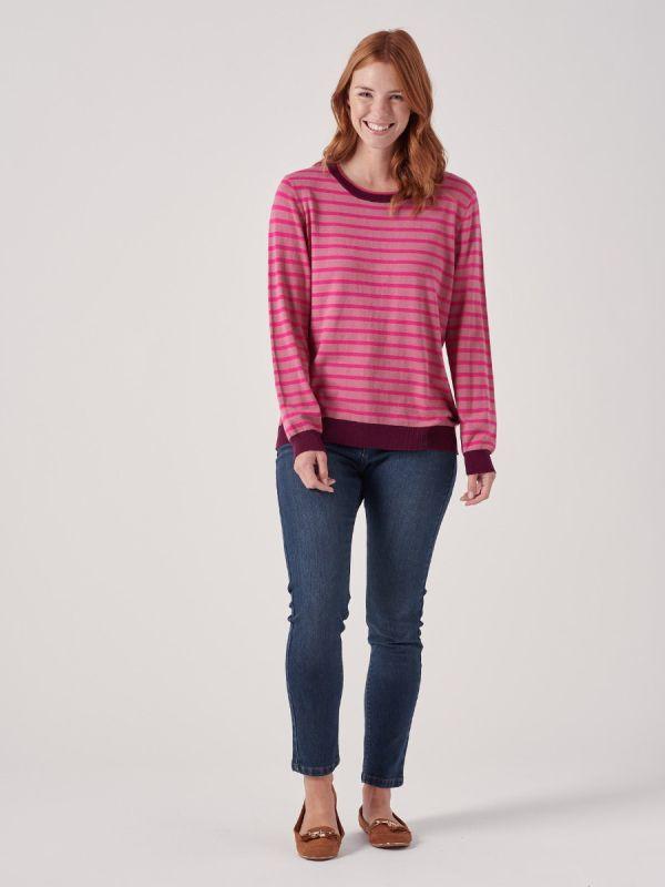 Sabine PINK Stripe Jumper | Quba & Co