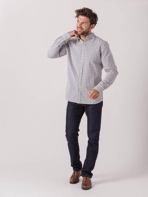 Secondo NAVY GREEN CHECK Long Sleeve Check Shirt | Quba & Co