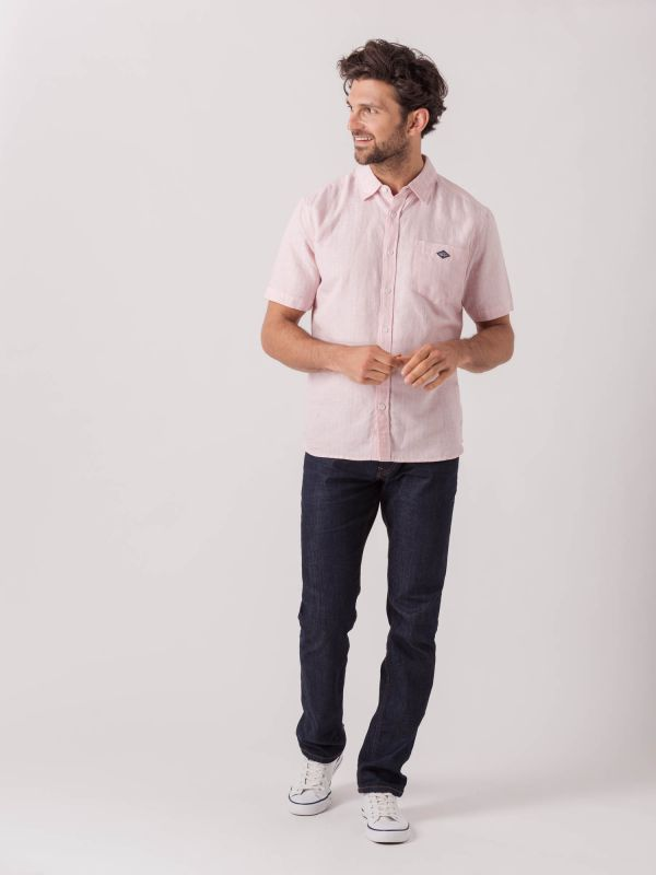 Sergio PINK Short Sleeve Pinstripe Shirt | Quba & Co