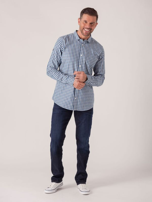 Shannon Long Sleeve Check Shirt - Gibraltar Blue | Quba & Co Shirts