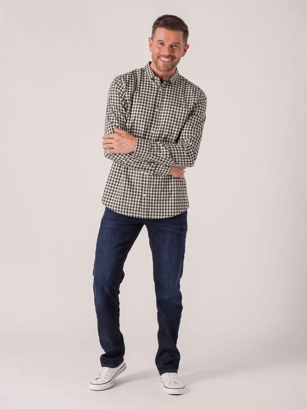 Shannon Long Sleeve Check Shirt - Forest Green   Quba & Co Shirts