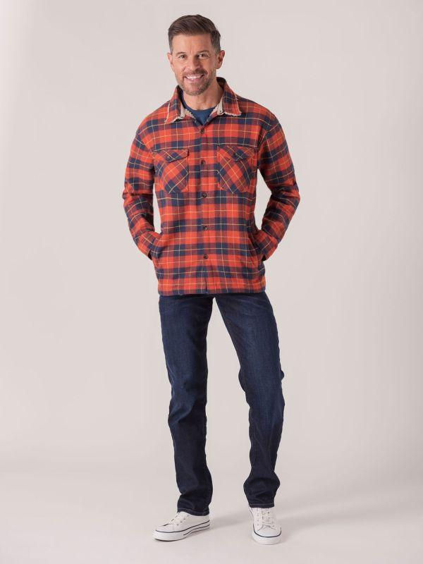 Sherpa Long Sleeve Check Shirt Jacket - Fjord Blue/Pumpkin   Quba & Co Shirts