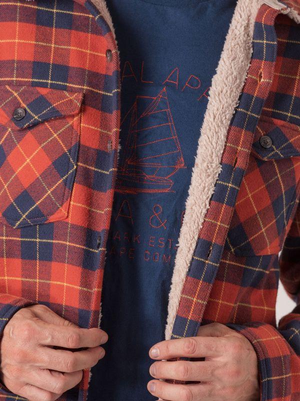 Sherpa Long Sleeve Check Shirt Jacket - Fjord Blue/Pumpkin