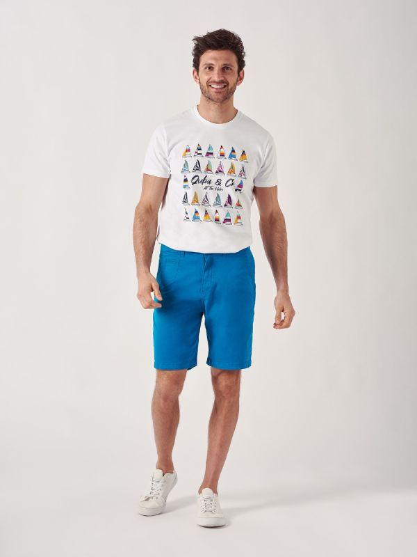 Swan AZURE BLUE Chino Shorts | Quba & Co