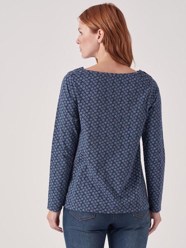 Taryn BLUE Long Sleeve T-shirt | Quba & Co