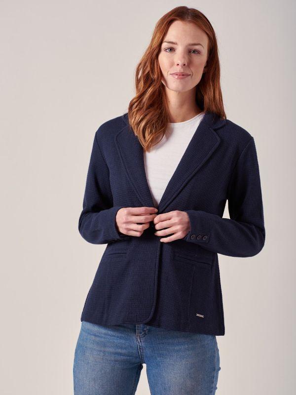 Tavia NAVY Jersey Blazer   Quba & Co