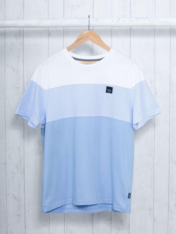 Tavo SKY BLUE Colour Block T-Shirt   Quba & Co