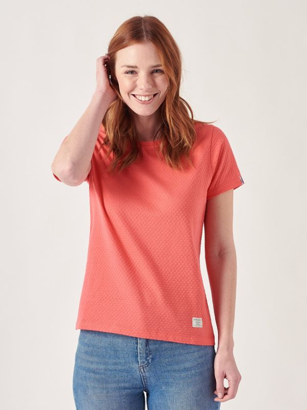 Tonya RED Textured T-Shirt   Quba & Co