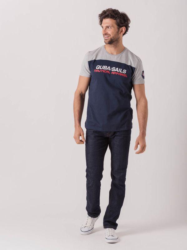 Tulli NAVY GREY X-Series Colour Block T-Shirt | Quba & Co