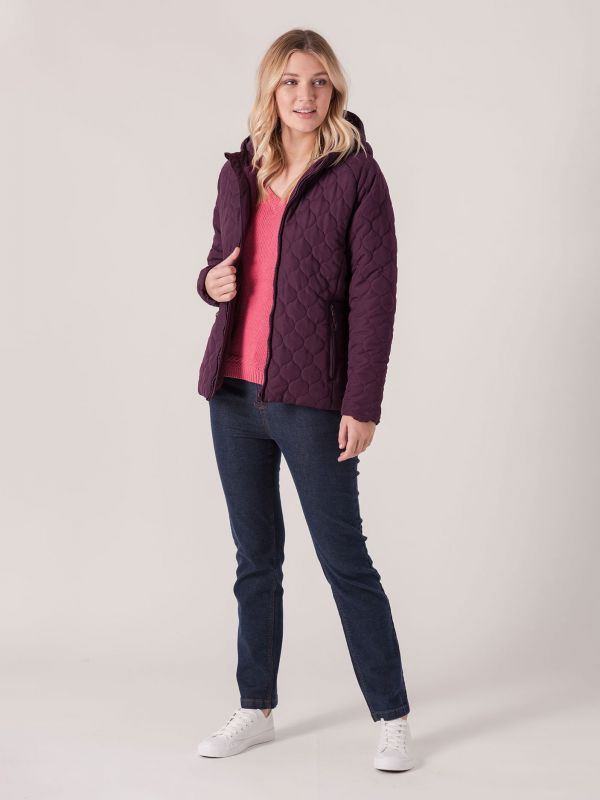 Valda Onion Quilted Coat - Purple Berry   Quba & Co Outerwear