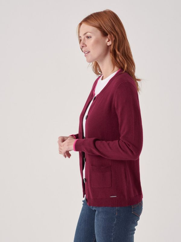 Viviette PURPLE Button Cardigan | Quba & Co