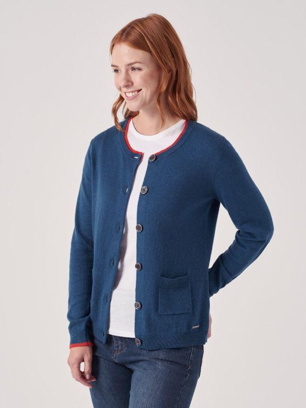 Viviette BLUE Button Cardigan | Quba & Co