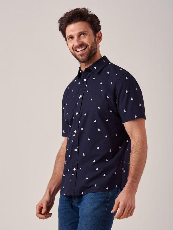 Walt NAVY Poplin Shirt | Quba & Co