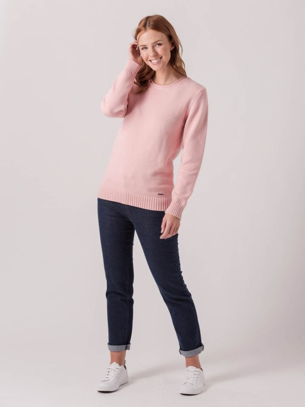 Willow PALE PINK Crew Neck Jumper | Quba & Co